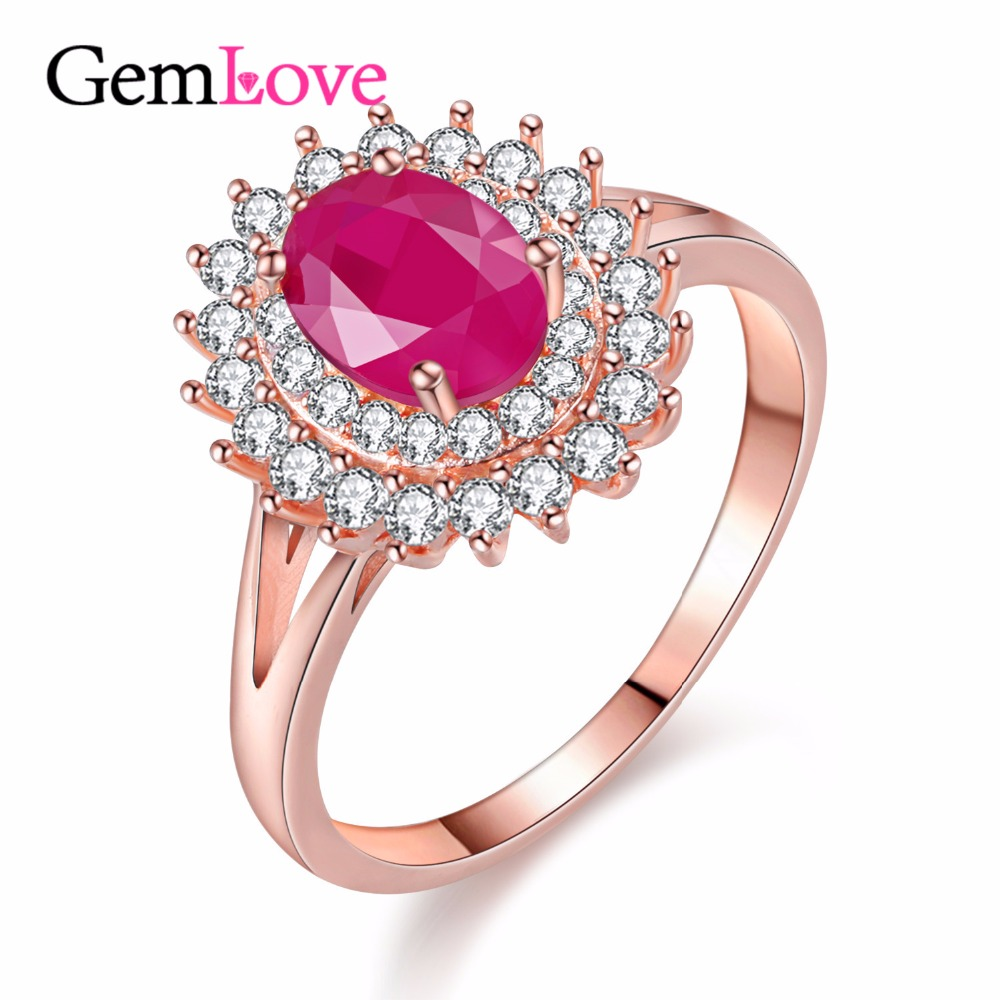 Gemlove Natural Ruby Jewelry Rose Gold Plated Ring Light Zircon 925 ...