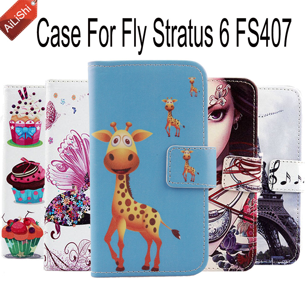 AiLiShi New Arrive Wallet Cover Skin Protective Case For Fly Stratus 6 FS407 Book Flip Lovely PU Leather Case Tracking In Stock ...