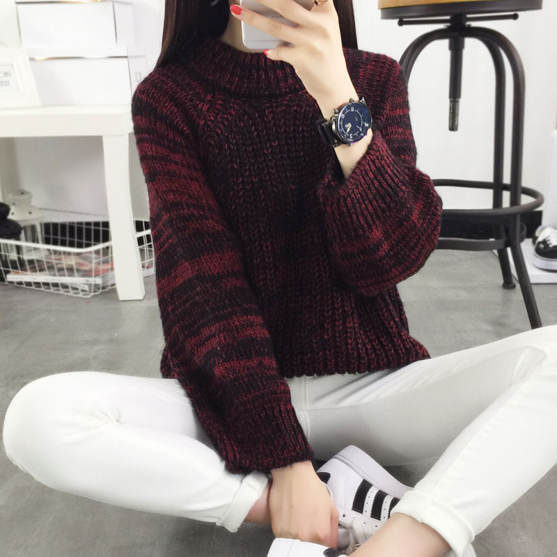 Winter pullover sweater female sweater loose outerwear short design thickening turtleneck sweater