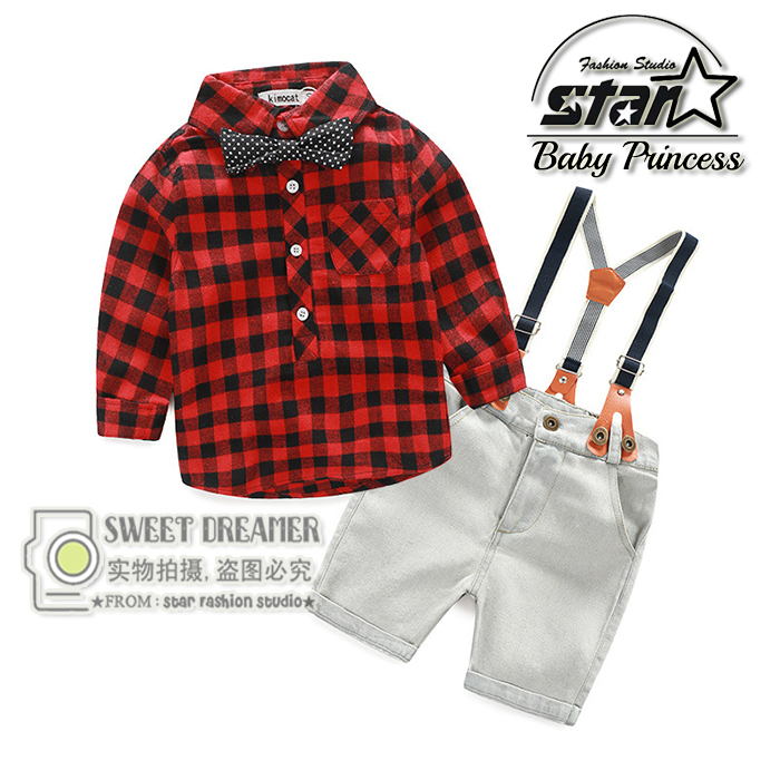 2016 New Baby Boys Clothing Set Suit Overalls Gentleman With Bow Tie Long-sleeved Plaid Shirt + pants 2pcs Plus Size Kids baby boys male infants kids long sleeve striped t shirt tops star bib overalls long pants 2pcs clothing set suit a58