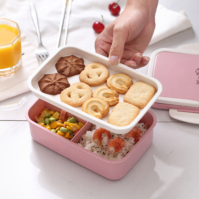 Three-Section Wheat Straw Lunchbox