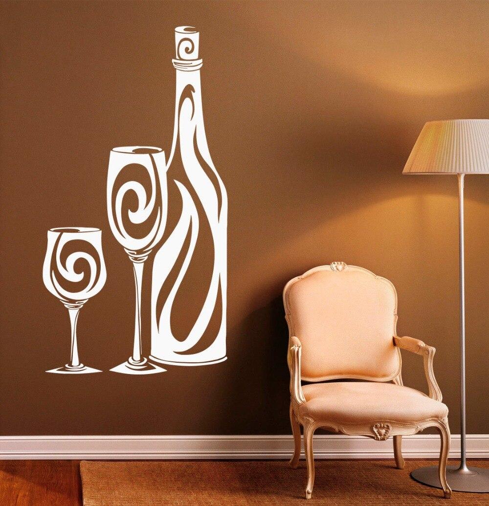diseo de la cocina pegatinas de pared interior el hogar de vidrio botella de vino patrn de tatuajes de pared de vinilo arte mu