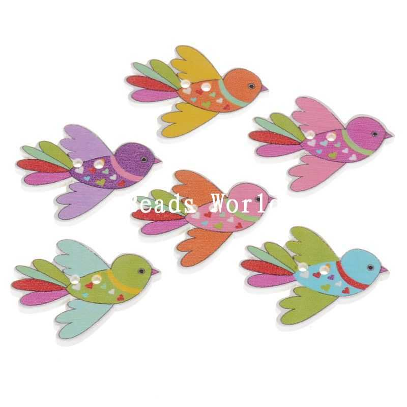 70 Pcs Mixed Birds Pattern 2 Holes Wood Sewing Buttons Scrapbooking Jewelry DIY Decoration 35x27mm (W05069 X 1)