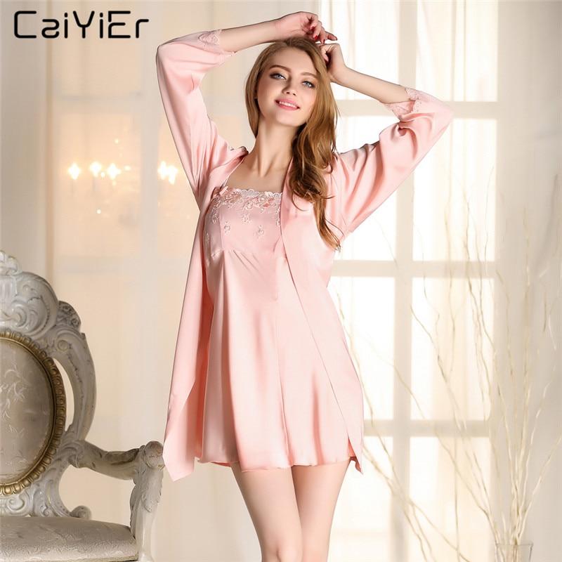 Caiyier Lingerie Robe Sets Silk Dress Nightwear 2018 Summer Two Piece Sleepwear Robe De Chambre Femmes Nuit Peignoir LLP9003
