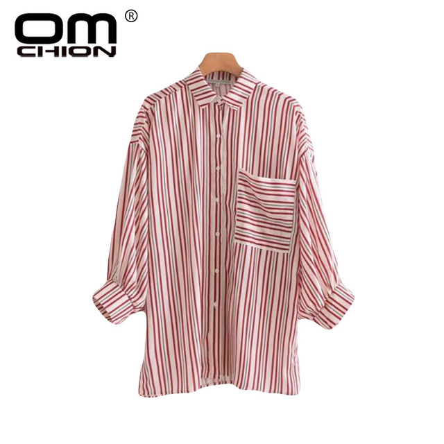 66264339dac1 OMCHION Blusa Feminina 2018 Red Striped Long Sleeve Blouse Women Casual  Loose Big Pocket Female Oversized