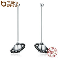 BAMOER 925 Sterling Silver 2 Ways Black AAA Planet Long Drop Earrings For Women Fashion Sterling
