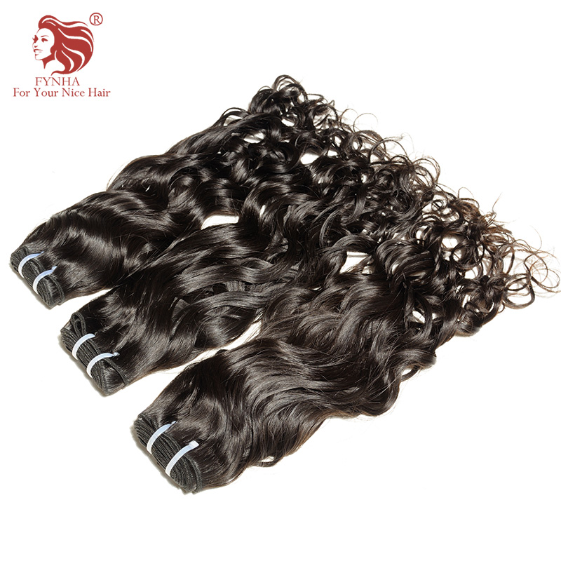 [FYNHA] Indian Virgin Hair Water Wave Weave Human Hair 3 Bundles Deal Natural Black Extensions beautiful princess hair