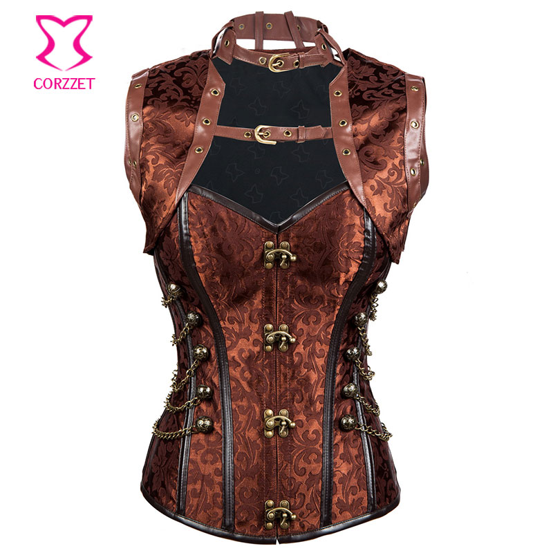 Brown Steampunk   Corset   Jacket Set Burlesque Costume Steel Boned   Corsets   and   Bustiers   Gothique Corpetes E Espartilhos Para Festa