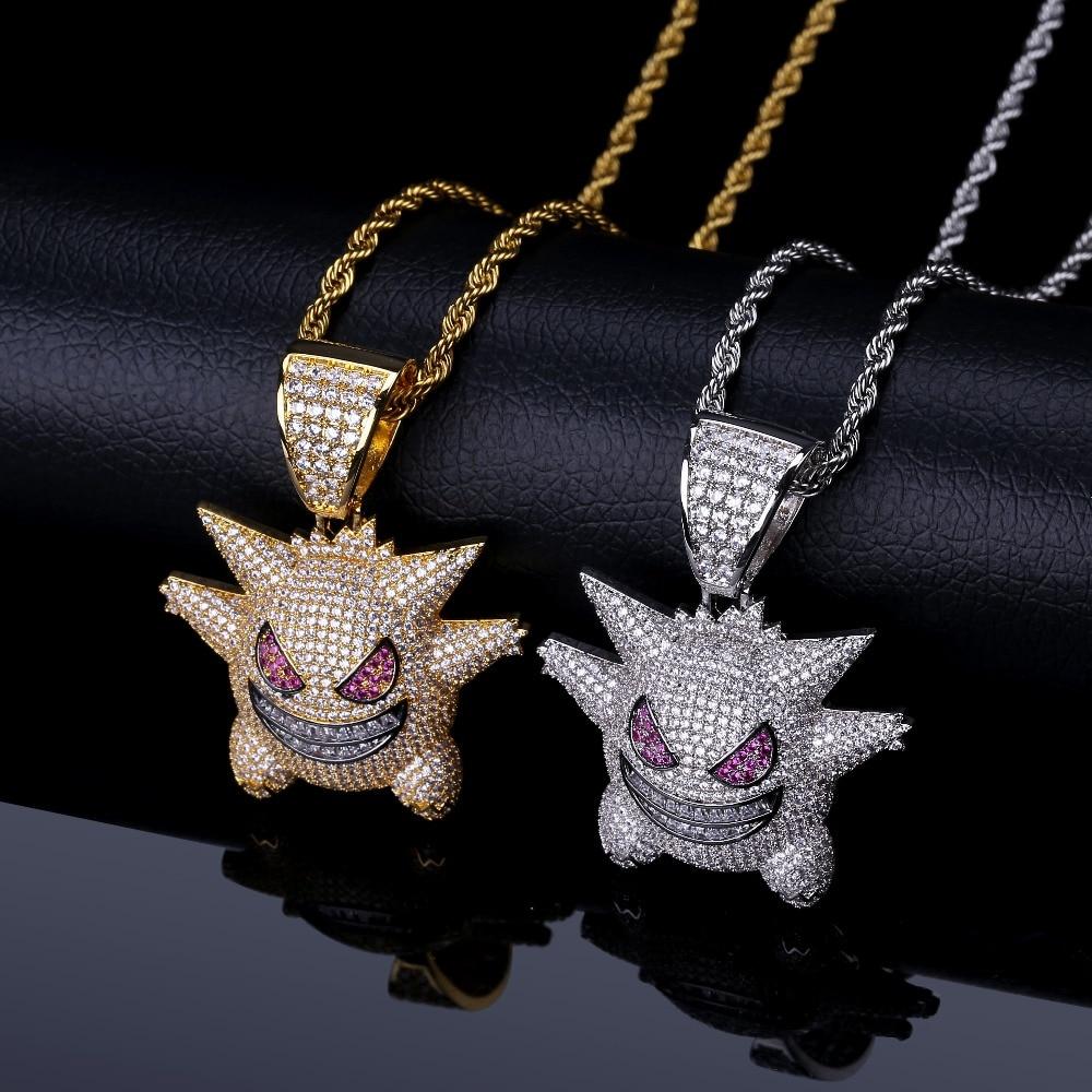 TOPGRILLZ Personalisierte Gengar Anhänger Halskette Männer Mit Tennis Kette Hip Hop/Punk Gold Silber Farbe Charme Kette Schmuck Geschenke