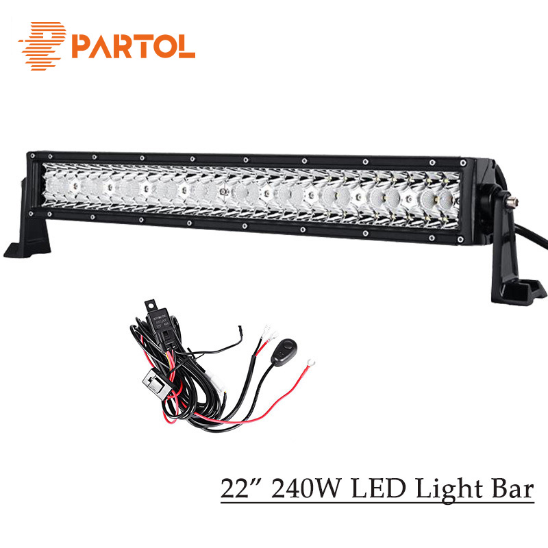 Partol 240W 22 Tri-row LED Work Light Bar Offroad Led Bar Spot Flood Combo Beam Truck SUV ATV 4x4 4WD Driving Lamp 12V 24V partol 22 200w dual row curved led light bar offroad work light spot flood combo beam 4x4 4wd led bar 12v for jeep suv truck