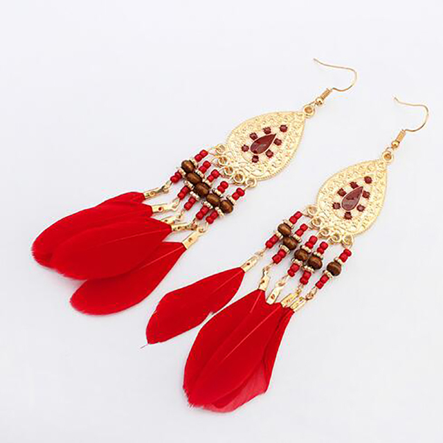 Five Colors Feather Earrings for Women
