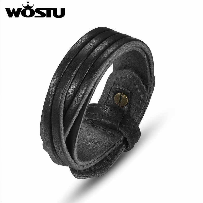 100% prawdziwej skóry Wrap Vintage czarna bransoletka biżuteria dla Unisex mężczyźni kobiety prezent XCJ0336
