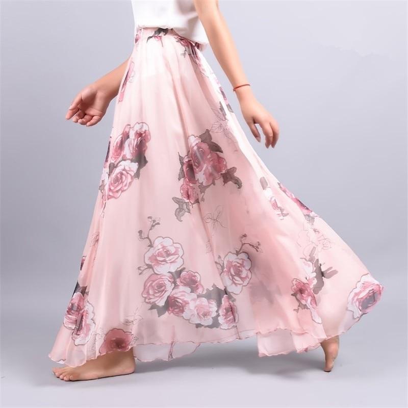 New Elegant Summer Women Retro Beach Skirt Large Umbrella Bohemian Skirt Ankle-Length Lady Print Chiffon Skirt
