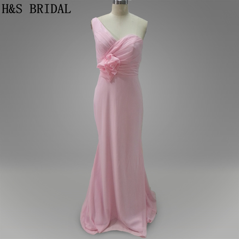 Real Model Pink color One shoulder Homecoming Mermaid cheap   bridesmaid     dresses