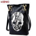 KEENICI  Famous Brand Woman Large Leather Shoulder Bag Skull Skeleton Women Messenger Bags Totes Halloween Bolsa Feminina Black