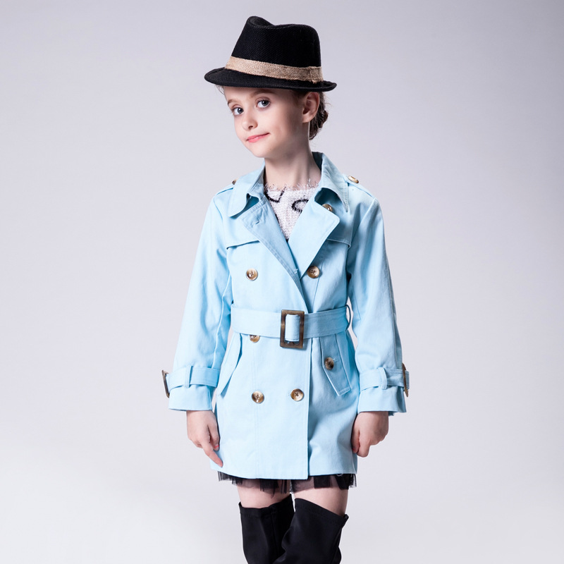 Children Autumn and Winter Coats New Arrival 2016 Candydoll Classic Style V Neck Double Breasted Sashes Top Quality Girls Trench 2016 autumn and winter new one breasted