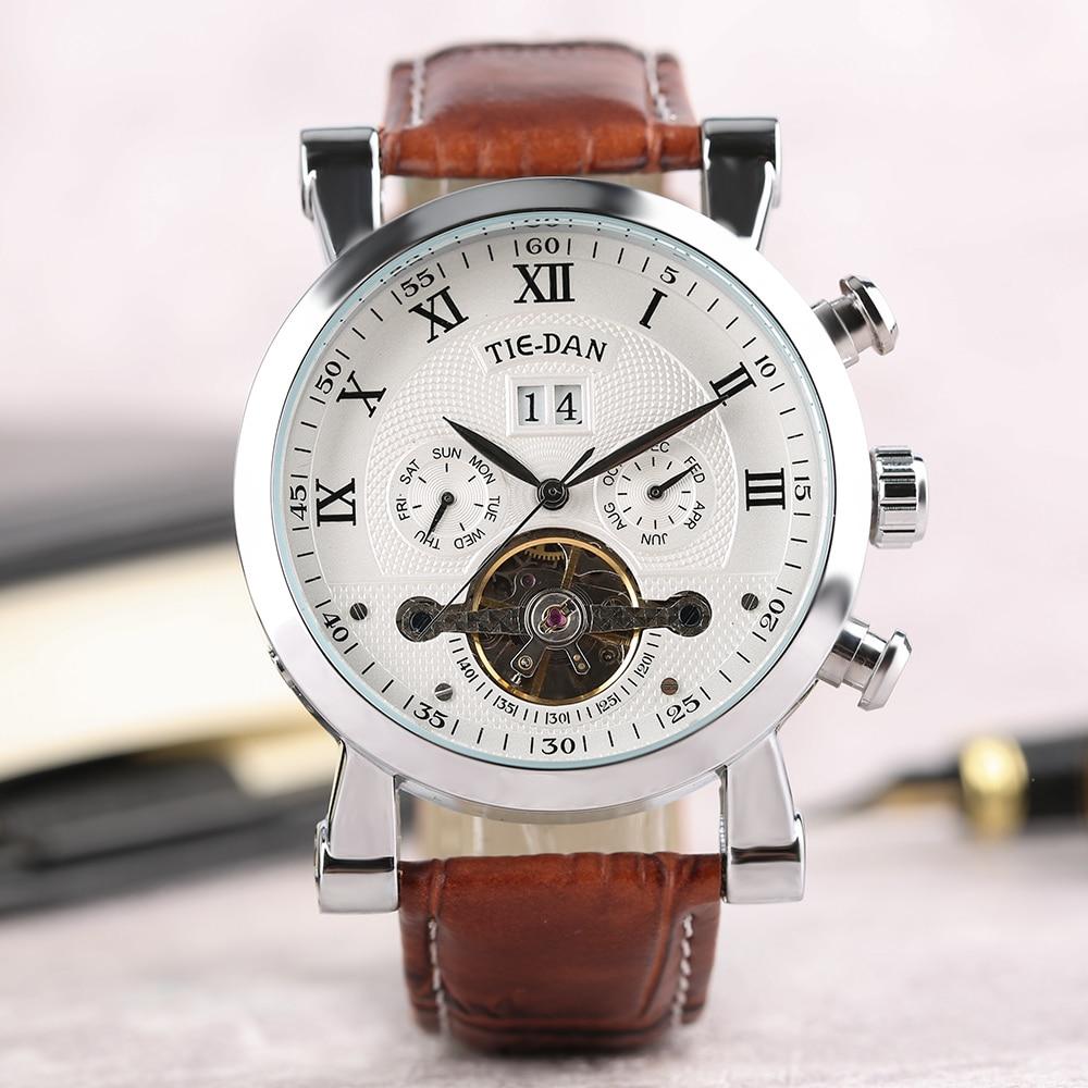 TIE DAN Mechanical Self-Wind Watches Top Brand Luxury Men's Watches Genuine Leather Band Strap Tourbillon Relogio Masculino Gift leila moraa geteri dan kaseje and stephen okeyo self care among caregivers