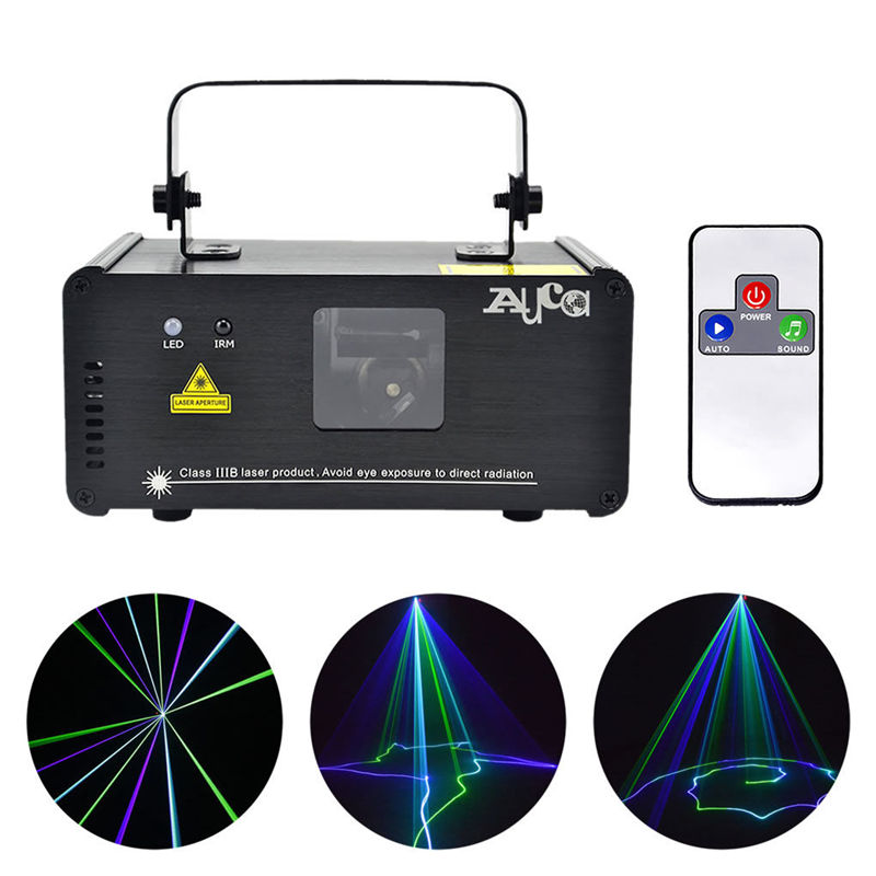 Mini IR Remote Sound Beam Scan 200mW Luces láser cian verde azul 8 CH DMX Party Show Proyector de rayos en movimiento DJ Stage Lighting GBC