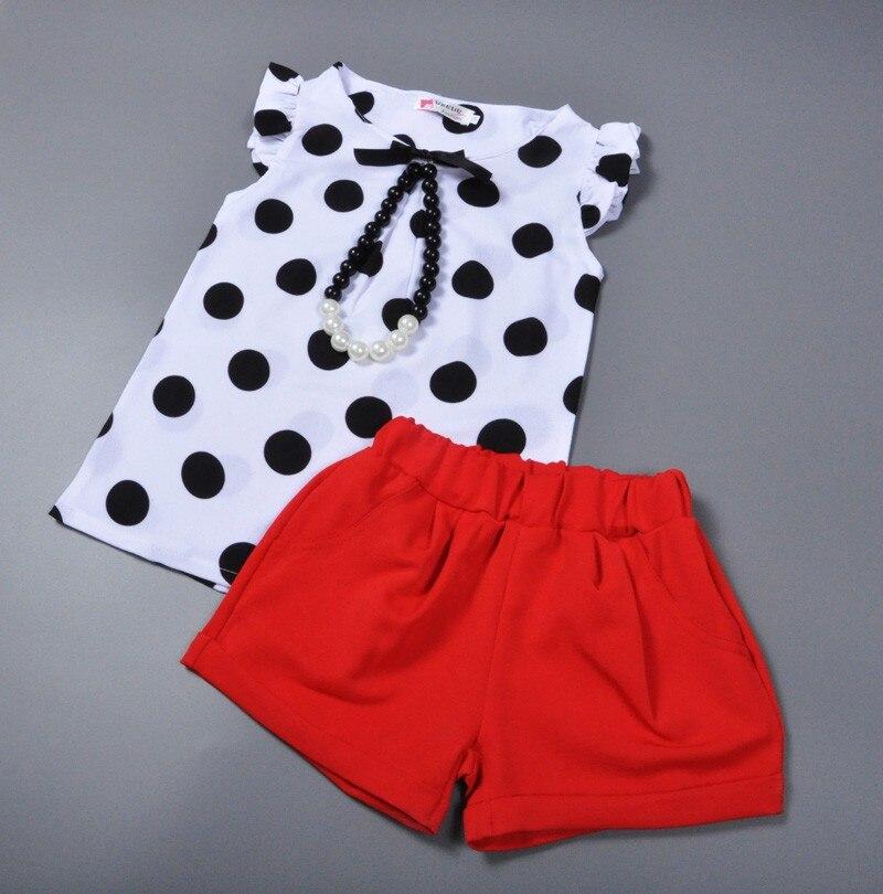 summer style baby girls clothing set polka dot t shirt red shorts ...