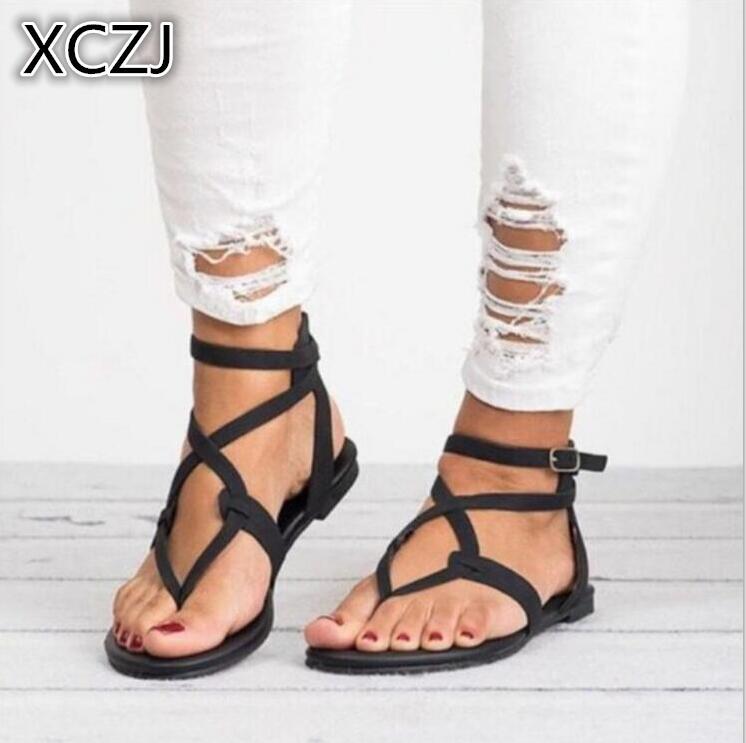 XCZJ NeWomen Sandals Gladiator Summer Women Shoes Plus Size 35-43 Flats Sandals Shoes for Women Casual Rome Style Sandalias A120 women flats sandals plus size 35 43 woman summer shoes 2018 new fashion casual shoes for woman european ladies gladiator sandals