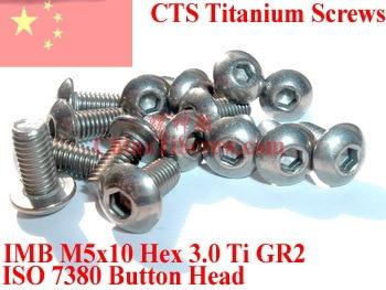 Titanium screws M5x10 ISO 7380 Button Head Hex Driver  Polished 10 pcs titanium screws m4x20 din 912 hex 3 0 driver polished