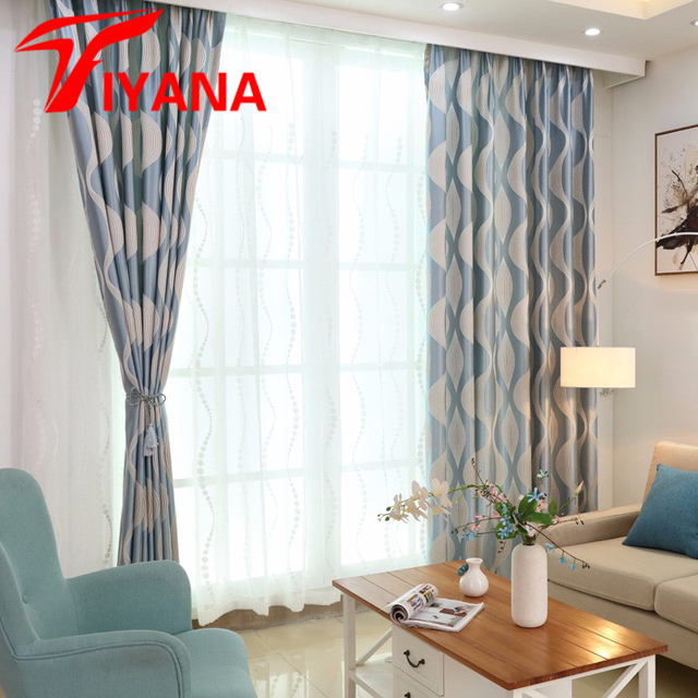 Luxury Fashion Style Geometric Blackout Curtains Kitchen Window Living Room Curtain Panel Fabrics Blue Color