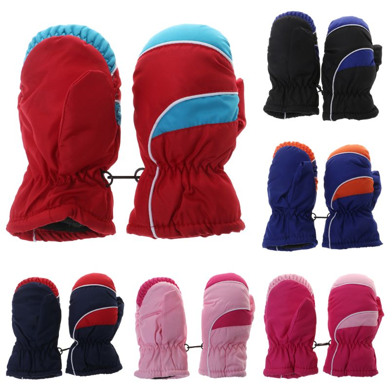 1 Pair Winter Gloves Full Fingers Kids Children Outdoor Skiing Snow Professional Mitten Waterproof Windproof Warm Thick Fleece