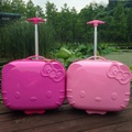 Lovely hello Kitty anime 17 inches ABS+PC girl cartoon Pull rod box trolley case 3D child Travel luggage suitcase Boarding box