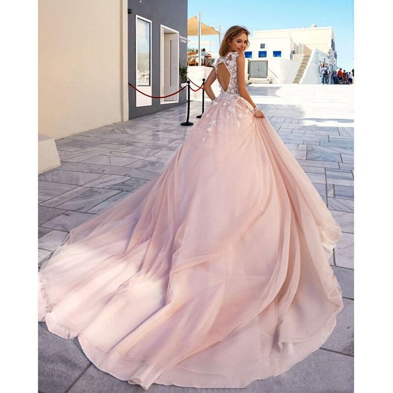 Vestidos De Novia Cheap Bridal Dress Princess A Line Appliques Blush ...