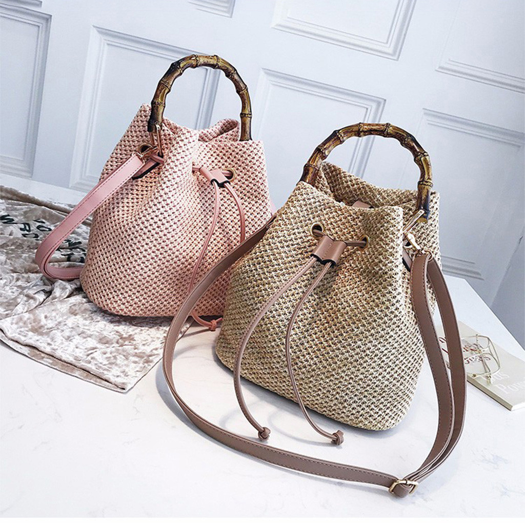 Messenger Bags Women Beach Bamboo Bracelet Straw Burlap Square Beach Drawstring Straw Bag Burlap Messenger Bag Dropship May10