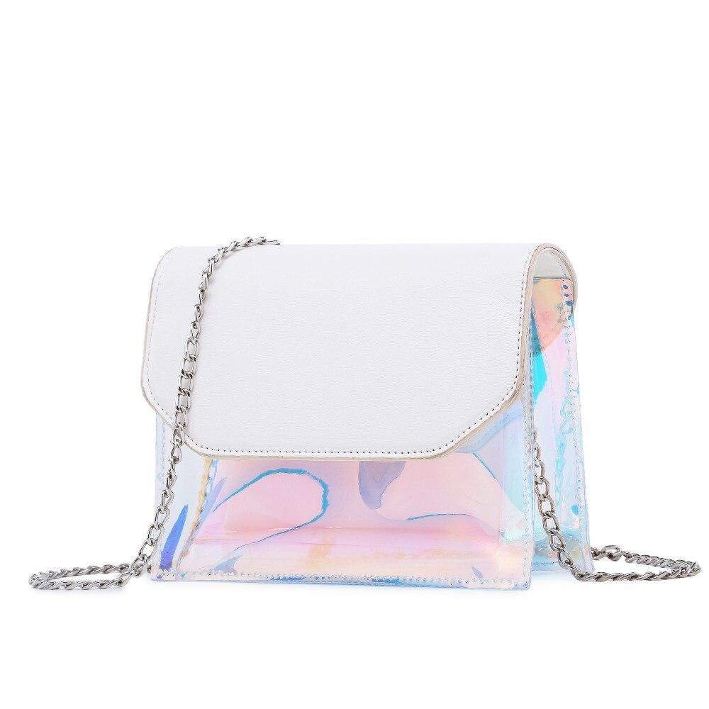 Композитный мешок для девочек Летний стиль небольшой лоскут мода Лазерная Красочные Сумка Для женщин цепи Crossbody мешок
