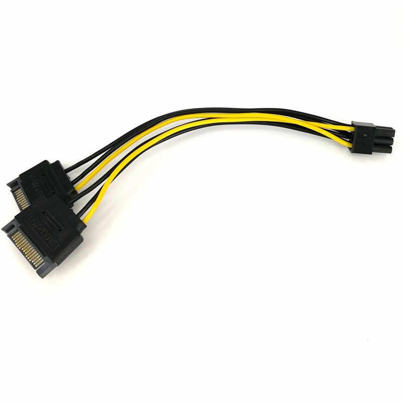 20cm çift SATA 15Pin erkek M PCI-e 6 Pin dişi F Video kartı güç kablosu Oct13 profesyonel damla kargo
