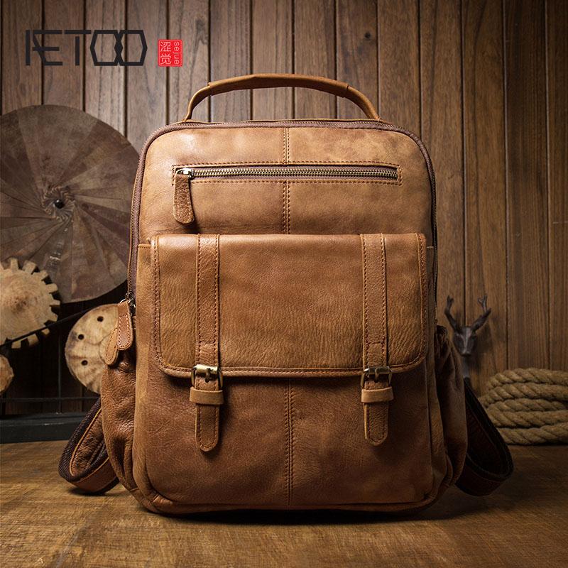 AETOO Leisure cowhide backpack Men's large-capacity travel bag College wind bag computer bag leather men's backpack
