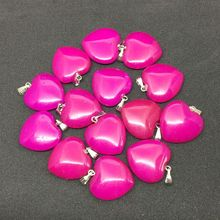 Wholesale Stone Heart Pendant Jewelry Stone Charm Silver Jewelry, Fuchsia Dark Pink Stone Heart Pendant