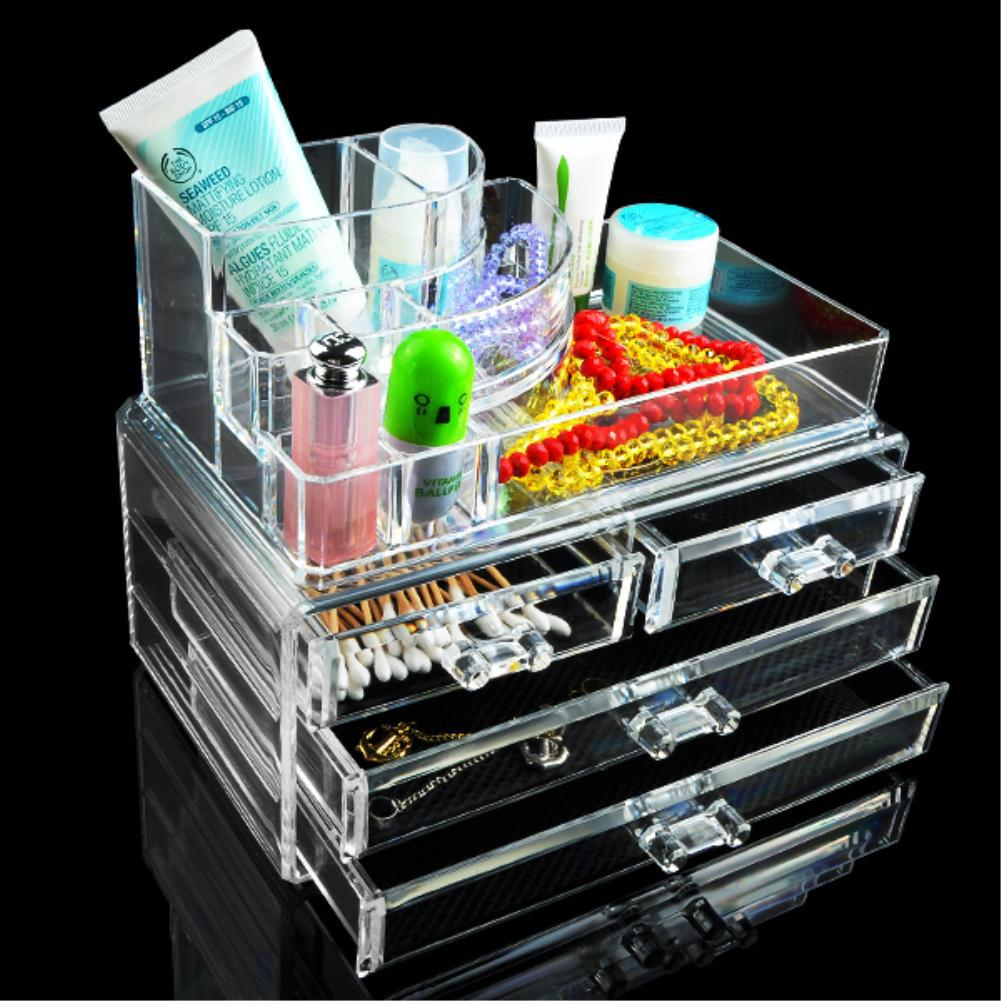 12 Grids 4 Layer Drawers Organizer Storage Box Makeup Case jewelry Display Stand Clear Acrylic Multifunction Rack EQC371 large box acrylic makeup cosmetic case stand insert holder rack organizer glossy makeup organizer 3 layer drawers transparent