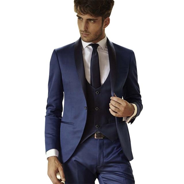 De Lujo para hombre Azul Marino Vestido Formal Esmoquin Trajes Trajes de  Fiesta Del Festival 3 57f5d74410b