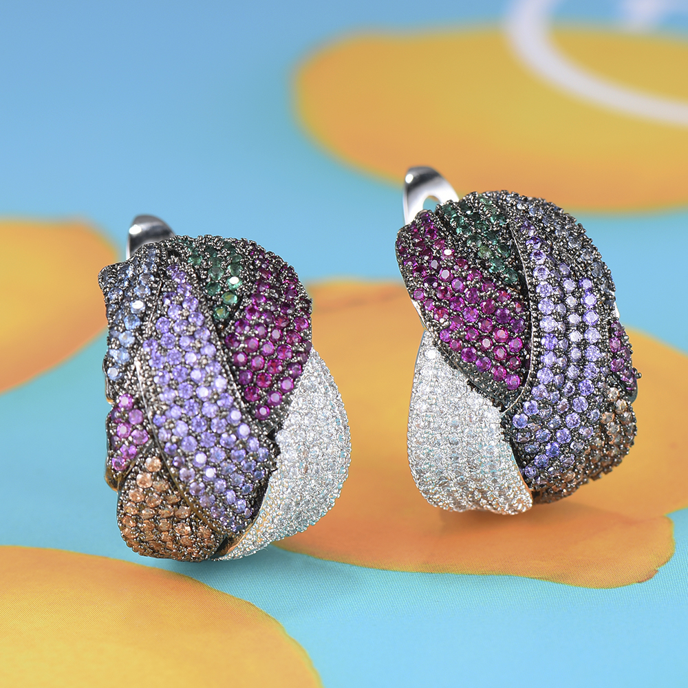 Image 2 - GODKI 25mm Luxury Twist Braided Cross Lines Colorful Full Mirco  Pink Cubic Zircon Dangle Earring For Women Wedding Bohemia HotDrop  Earrings