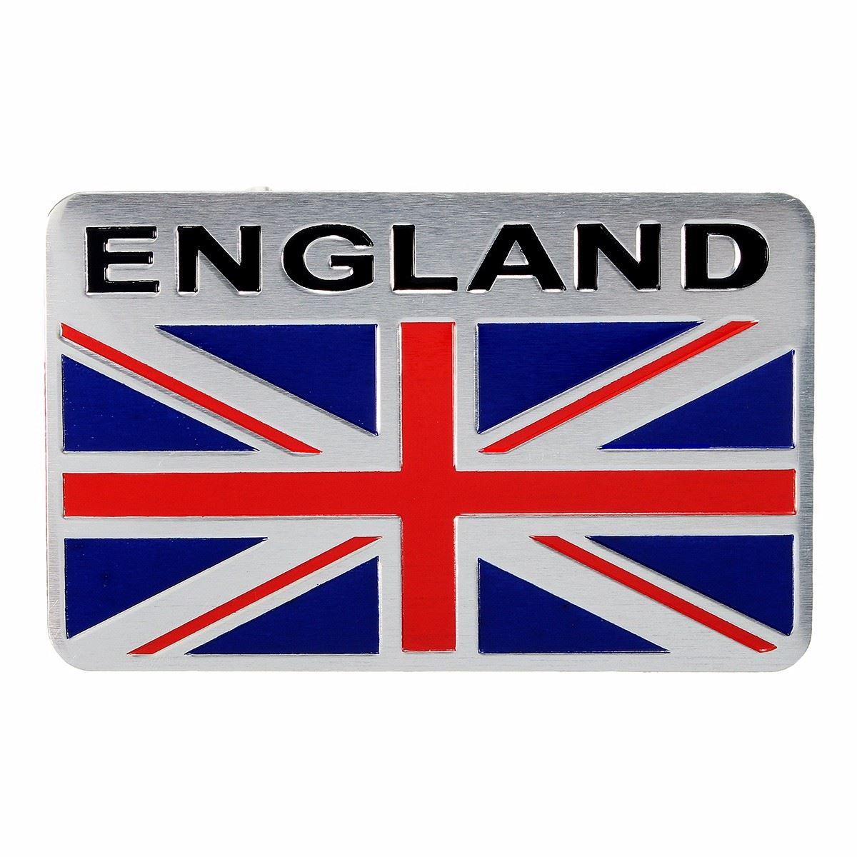 Aluminium Alloy Silver GB England UK Flag Emblem Badge Decal Decor Sticker For Car Truck Auto