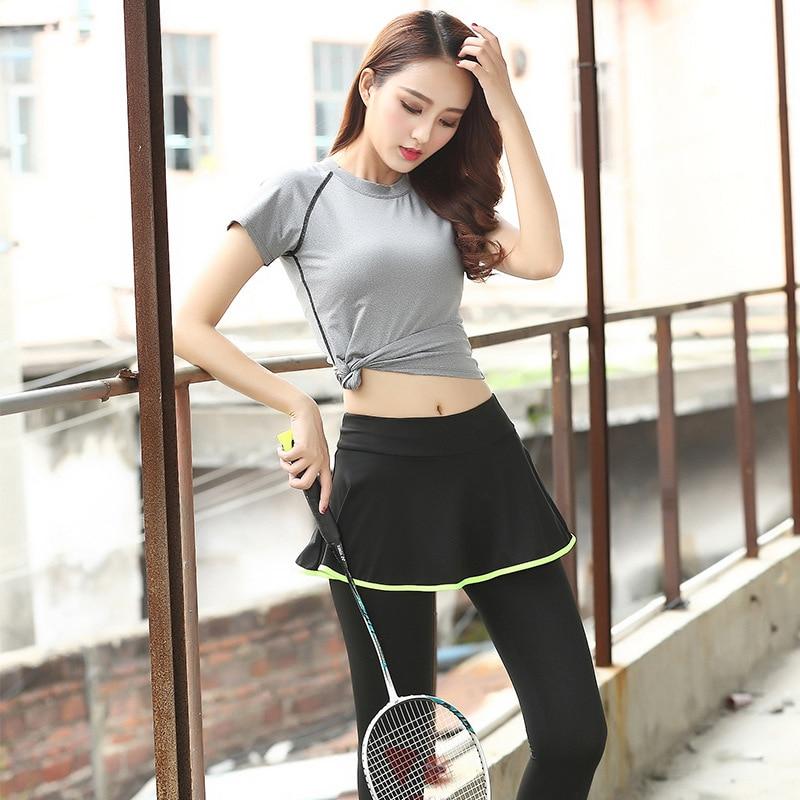 Womens Tennis Skorts Set Sport Skirt+Shirts Suit Quick-drying Breathable Elastic Fitness Running Badminton Skirt Skorts Ladies