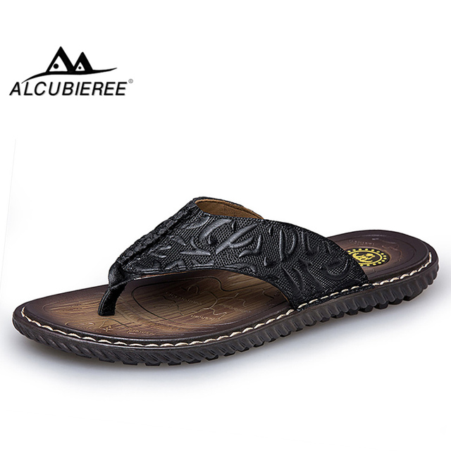 ALCUBIEREE Mens High Quality Flip Flops Outdoor Non-slip Flat Slippers for Men Genuine Leather Sandals Breathable Beach Shoes