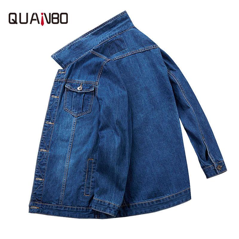 QUANBO большой размер 6XL 7XL 8XL джинсовая куртка 2019 новые осенние зимние классические повседневные джинсовые куртки модные хип хоп мужские уличные толстые