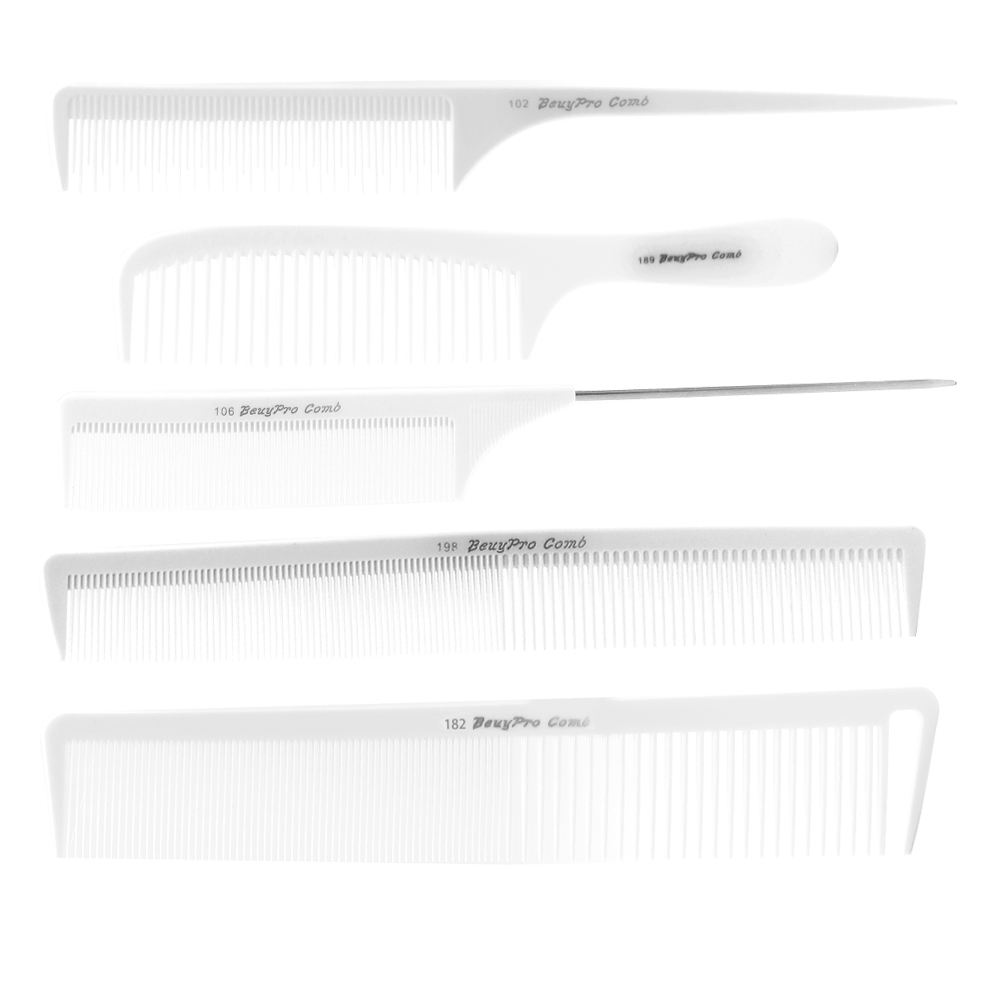 5 Piece Beauty Pro Hair Salon Hairdresser Cut Comb Set Durable Tail Comb For Hair Barber Hairstyling Men Cut Hair Trimmer Comb