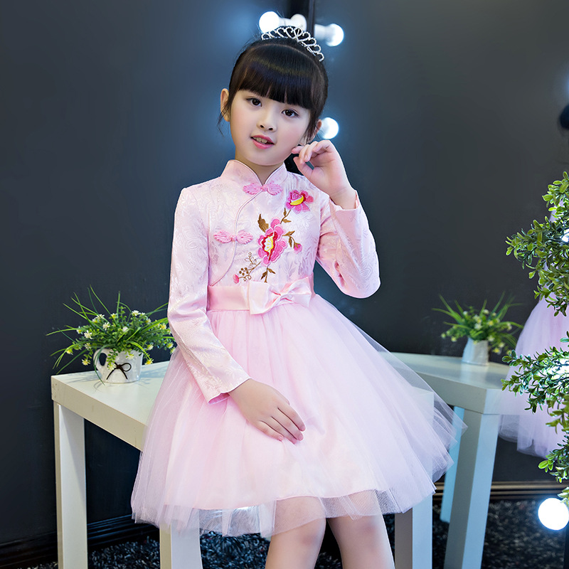 Filles robe vêtements pour enfants automne et hiver nouvelle robe de princesse Cheongsam enfants montrent la robe de Style chinois