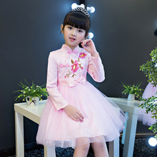Girls Dress Children's Clothing  Autumn and Winter New Cheongsam Princess Dress Children Show Dress Chinese Style nicbuy girl s autumn winter dress 2017 new children add velvet and lace princess fashion dress red blue