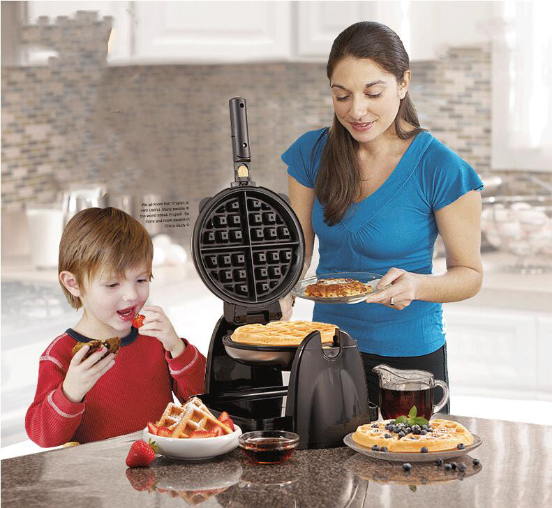 Waffle maker home multi-function automatic heating waffle machine can be rotated baker muffin electric baking pan 1pc