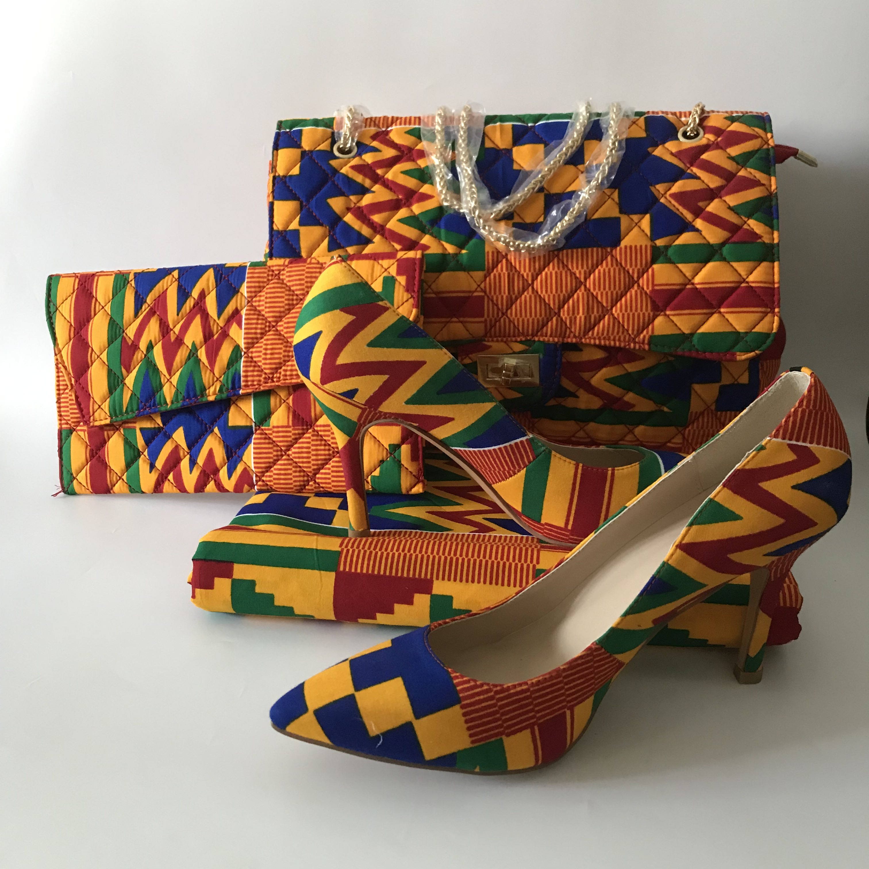 african kente cotton wax prints fabric 6yards wax bag purse wax shoes sets very fashion designer