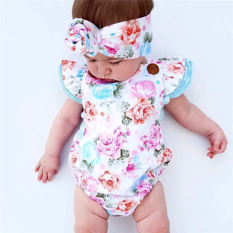 Newborn Baby Clothes | Floral Baby Clothes Set 2019 Summer Newborn Baby Girl Ruffled Sleeve Bodysuit Jumpsuit + Headband 2pcs Outfit Sunsuit