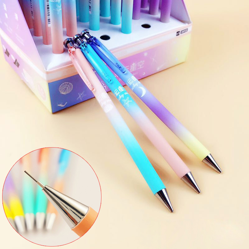 0.5mm Cute Kawaii Starry Sky Mechanical Pencil Gradient Color Automatic Pencils Stationery For Writing Office School Supplies