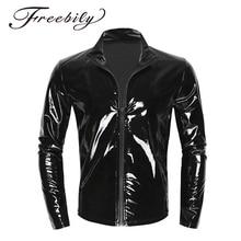 New Long Sleeve Patent Leather Men Shiny Metallic Front-Zip Stand Collar Tops Wet Look Nightclub Sty