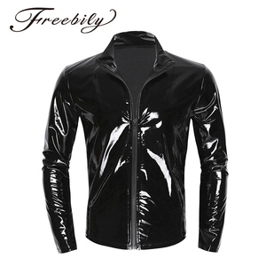 Image 1 - New Long Sleeve Patent Leather Men Shiny Metallic Front Zip Stand Collar Tops Wet Look Nightclub Style Jackets Party Costumes